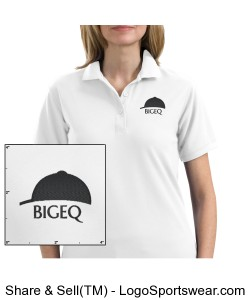 Official BIGEQ White Short Sleeve Ladies Polo Shirt Design Zoom