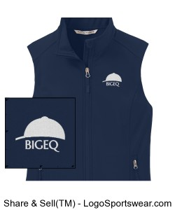 Official BIGEQ Ladies Navy Blue Soft Shell Vest Design Zoom