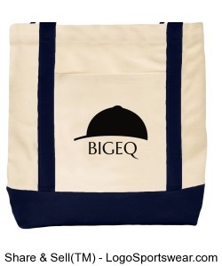 Official BIGEQ Cream and Navy Canvas Tote Bag Design Zoom