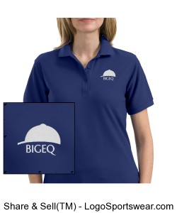 Official BIGEQ Ladies Blue Short Sleeve Polo Shirt Design Zoom