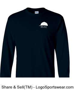 Official BIGEQ Long Sleeve Heavyweight Cotton Tee in Navy Design Zoom