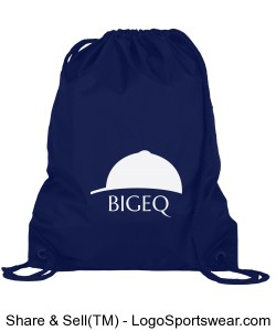 Official BIGEQ Drawstring Backpack in Navy Blue Design Zoom